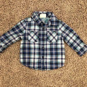 5/$25 boys blue plaid button up shirt, 6-12M